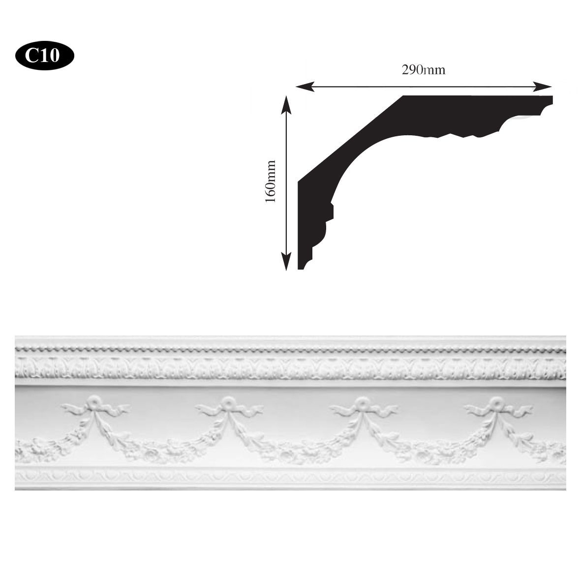 Large swag & bow plaster cornice Glasgow