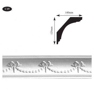 Decorative plaster cornice for bedroom