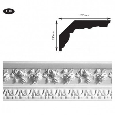 Rose style plaster coving