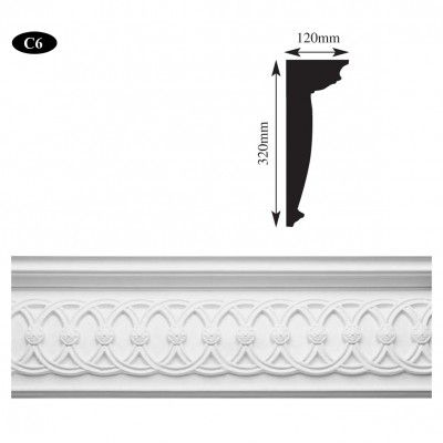 C6 neo-classical plaster cornice