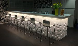 Cubi 3d wall panels used on bar