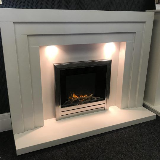 Deco white marble fireplace