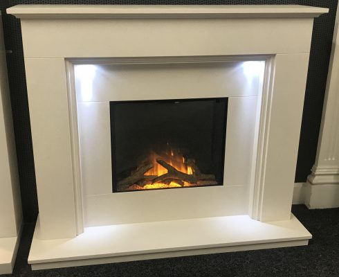 Limestone Fireplace with electric fire Glasgow