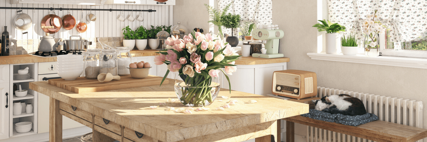 Flowers and plant pots in the kitchen